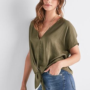 Lucky Brand Green Tie Front Top